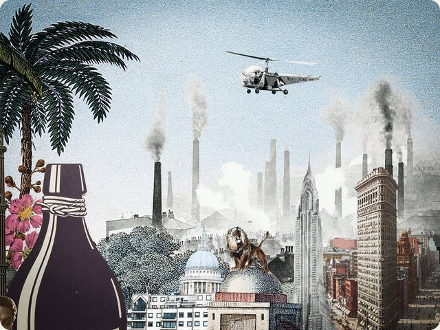 Artwork using collage. The collaged elements are made up of archive material which includes vintage photographs, etchings, painted illustrations, lithographic prints and line drawings. This artwork depicts a scene with an urban and rural combined background, where high chimneys billowing smoke and skyscrapers rise in the distance. In the middle distance a lion stands on the top of a domed building. The neck of a large bottle can be seen on the left hand side of the image. In the blue sky on the right above the chimneys a helicopter hovers, travelling from right to left over the scene.