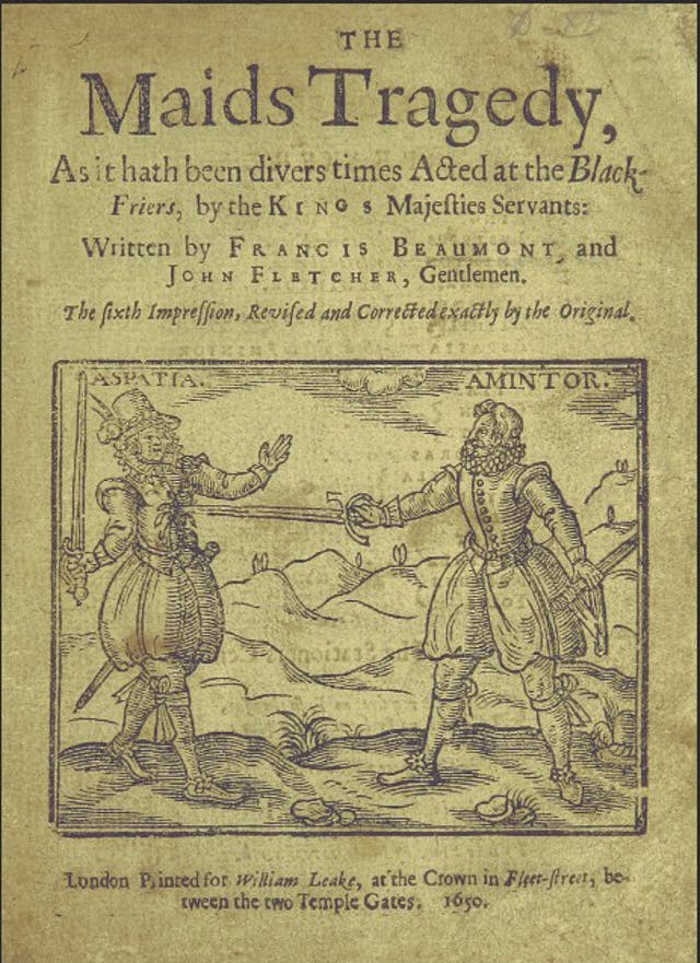 Title page of old book with title The Maids Tragedy showing a woman disguised as a man being stabbed by the sword of a man. Both wear ruffs, doublets and hose.