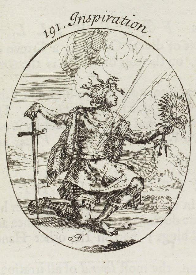 Black and white line engraving of a kneeling man being struck by what looks like lightning. The word 'Inspiration' is written above the image.