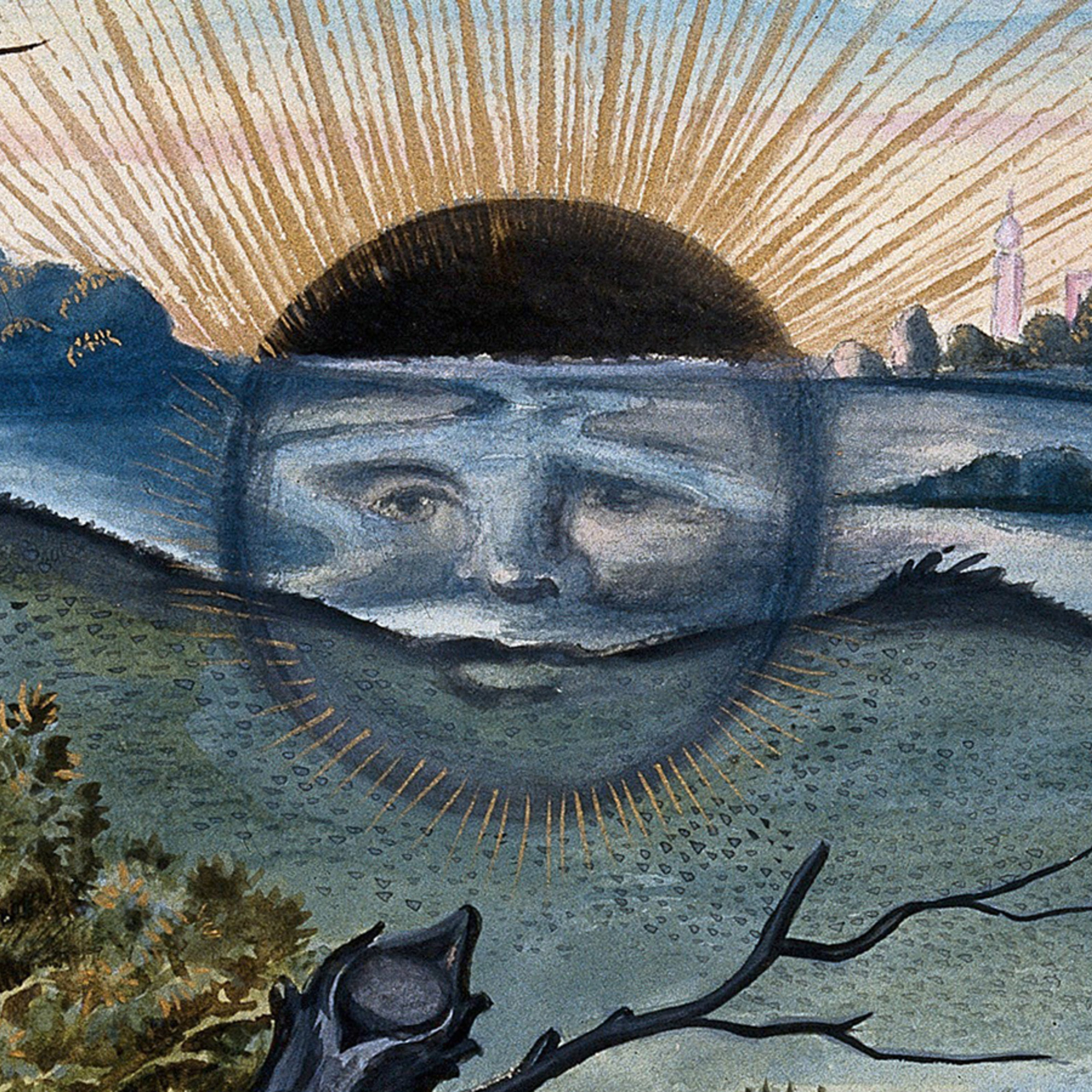 A black sun with a face descends behind the horizon of a marshy landscape