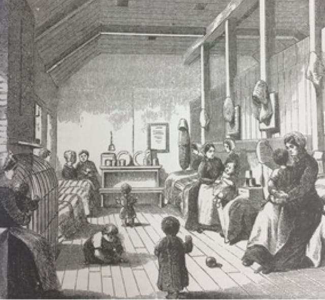 A black-and-white image from a book picturing a nursery inside a Victorian prison, with mothers and their children.