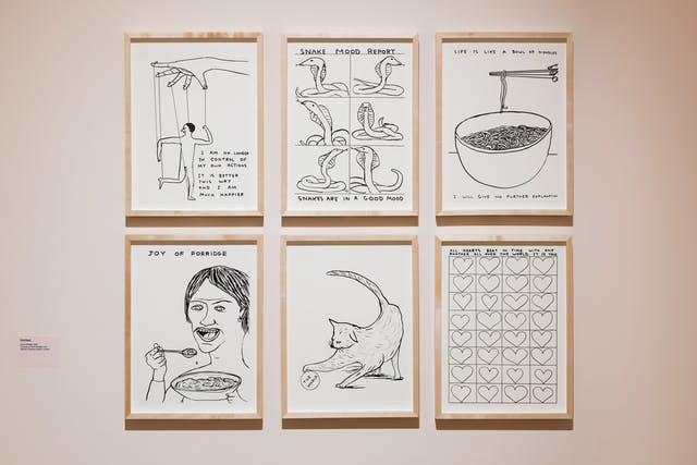 Photograph in an exhibition gallery showing a section of light pink coloured wall on which six framed prints in wooden frames have been hung. Each frame contains a black ink line drawing on white paper. The drawings are in a comic style and show, a hand controlling a small figure with strings like a puppet, a grid of snakes, a bowl of noodles and chop sticks, a man eating, a cat playing with a ball and a grid of hearts.