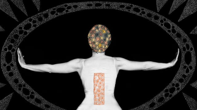 Artwork made up of a black and white photograph of a female figure from behind, from the waist up, against a black background. Her arms are held out straight to either side, her wrists and hands held up indicating a stop action. Embroidered into the photographic print with yellow and orange coloured thread is a crisscross floral pattern which exactly covers her head and hair. Across her back, embroidered in a copper coloured thread is a large  thin vertical rectangle. Surrounding the figure is a large ellipse made up of a layered texture of dots which forms a protective barrier against sharp tooth like forms approaching the barrier, also made up of layered textured dots.
