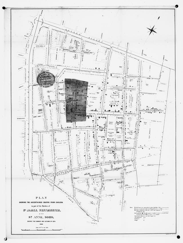 Plan showing the deaths from cholera, London, 1854, in St James, Westminster and St Anne, Soho