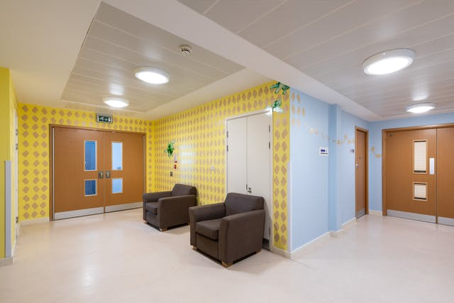 A photograph of a corridor taken in which there are two sets of wooden double doors visible at each end of the corridor both with narrow glass panels.  The walls on the left-hand side of the image are lemon yellow filled with a simple whelk shell shapes in silver about 30cm tall repeated in a grid like pattern. This wall also features two similarly sized seaweed designs in two tones of green. The walls on the right-hand side of the image are painted sky blue and a trail of silver whelk shells travels across the wall.