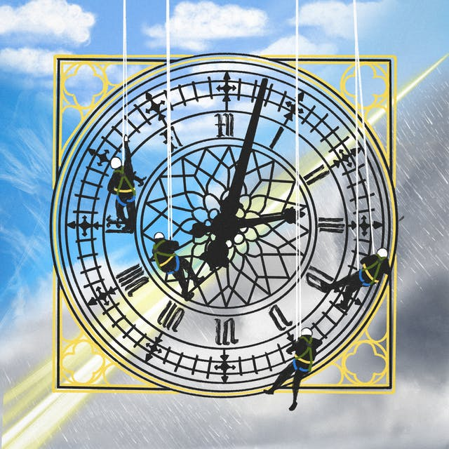 A digital illustration of a traditional looking clock face with Roman markers and workers abseiling down the face. In the background there is a mix of weather patterns merging into one, from bright blue skies to dark stormy rainclouds and lightening bolts.