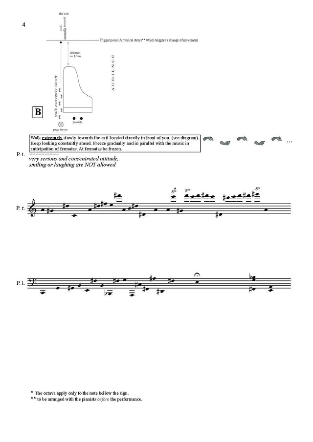 A page from Alin Gherman's Addendum:exitum for four hands and page turner. There is a diagram of a piano and footprints. The text reads: 'walk extremely slowly towards the exit located directly in front of you (see diagram). Keep looking constantly ahead. Freeze gradually and in parallel with the music in anticipation of fermatas. At fermatas be frozen' followed by in italics: 'very serious and concentrated attitude, smiling or laughing are NOT allowed'