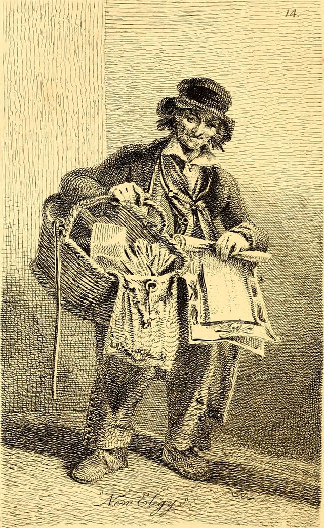 Black and white illustration of a man wearing a hat and jacket and holding a large basket of miscellaneous goods.