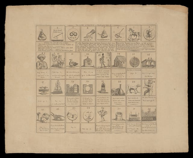 Photograph of an etching of a board game with forfeits, penalties and rewards illustrated within numbered squares. The title of the game reads, The game of chance, or Harlequin takes all.