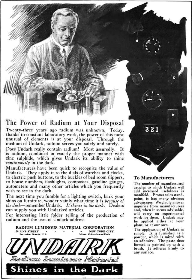 1921 magazine advertisement for Undark, a product of the Radium Luminous Material Corporation