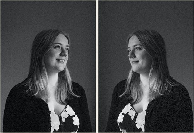 Photographic black and white diptych. The images both show the same young woman with blond hair, wearing a floral dress and black cardigan. In each image she is pictured in profile, looking towards herself in the other image, as if in a mirror. The image is very dark in tone, with just her profile picked out in the light. In the image on the left the woman is smiling. In the image on the right she has a more neutral expression.