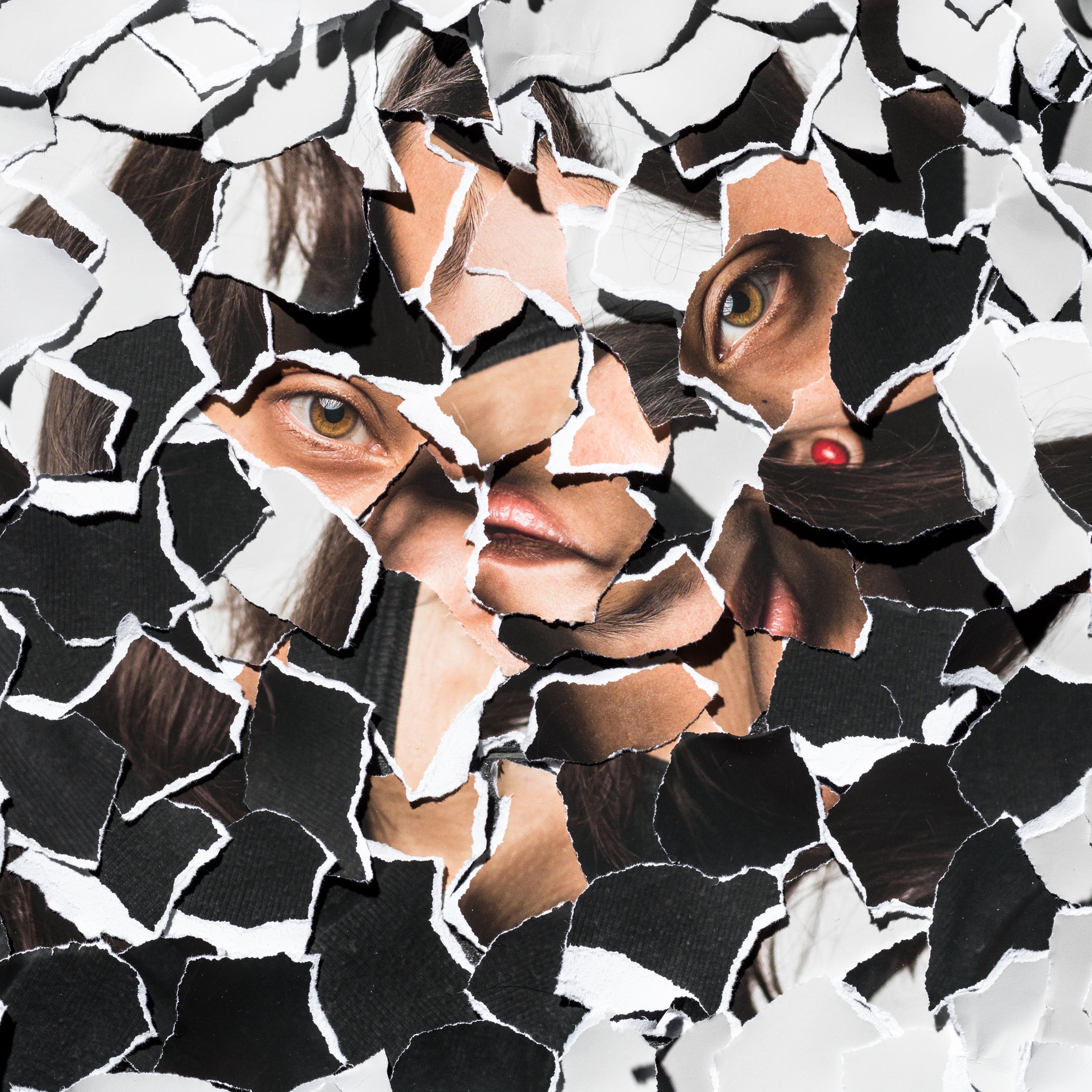 Photograph of a collage of torn up pieces of a photographic print all piled up randomly on top of each other. There are fragments of eyes, lips, hair and dark and light tones.