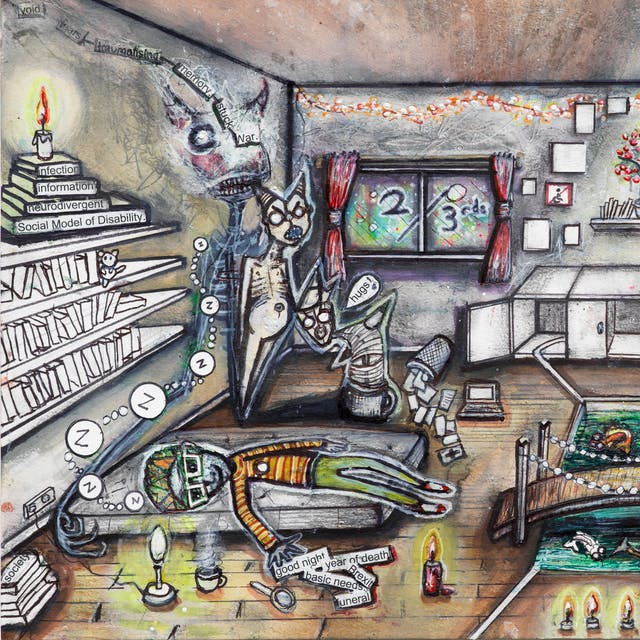 Artwork using watercolour and ink incorporating collaged words throughout the scene. The artwork shows a busy household room divided down the middle by a white line drawn across the floor.  Around the room are candles, and books with titles such as 'social model of disability', and 'neurodivergent'. The right hand side of the room is multi-coloured and the wall is covered in words such as 'vulnerable', and 'disabled'. The word 'only' is circled. In front of the coloured wall, three small people are sitting besides lowered areas in the floorboards with water features as though outside. One contains the words 'PPE', 'allies', and 'austerity'. A kitchenette with an overflowing sink, empty cupboards, a toilet and a first aid box, as well as a window with 2/3rds written across it appear in the background. The left hand side of the image is less colourful. Besides a man sleeping on a mattress on the floor fully clothed, are phrases such as 'year of death', and 'basic needs'. Besides him are three ghoulish creatures, one with a speech bubble with the word 'hugs' and an exclamation mark.