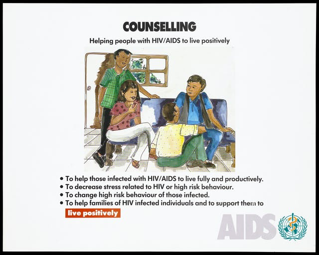 "A woman and a man sitting on a sofa with a man sitting on the floor and another standing. Text reads ""Counsel(l)ing. Helping people with HIVAIDS to live positively. To help those infected with HIV/AIDS ... to decrease stress ... to change high risk behaviour ... to help families of HIV infected individuals ... AIDS."""