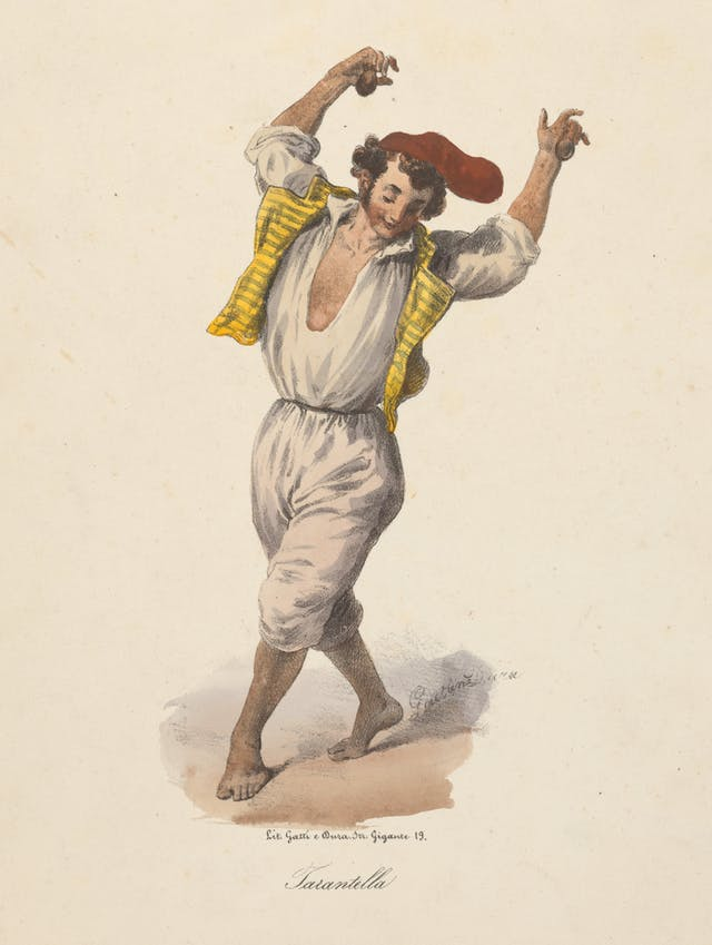 Coloured ink drawing of a young man with his hands in the air