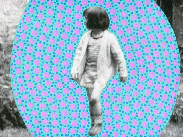 Artwork created by painting over the surface of a black and white photographic print with colourful paint. The artwork shows the original scene of a young girl walking towards the camera with her head turned to the left and her hair obscuring the side of her face. The girl is pictured in front of part of a rural cottage. The girl is surrounded by an oval shaped painted cyan background covered in small blue and larger purple dots. The texture of the paint can be seen.