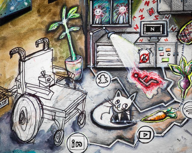 Artwork using watercolour and ink incorporating collaged words throughout the scene. The artwork shows a busy multi-coloured room separated by jagged white lines drawn across the floor incorporating social media icons in circles. In the background, there are kitchen cabinets, and windows beyond one of which there are people with coronavirus heads. On a fridge with a no access sign and a wheelchair within it, stands a screen with the letter 'N'. Red 'N' letters float in the air around it. In the front left hand corner of the image is a wheelchair, and above it on the wall rainbow coloured pictures.