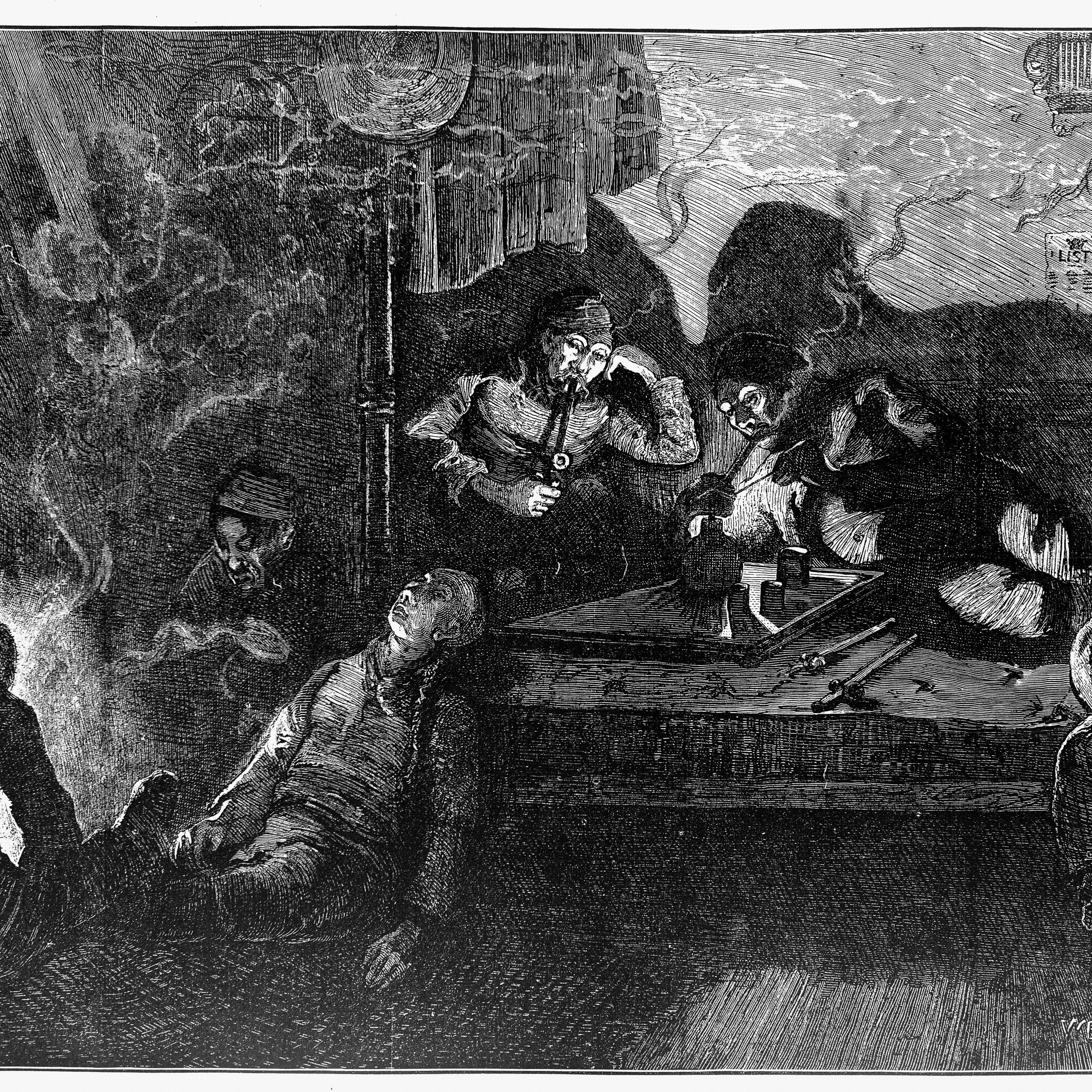 A black-and-white illustration of men smoking opium while others are passed out