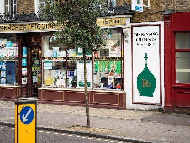 Shop front for Meacher Higgins chemist, London