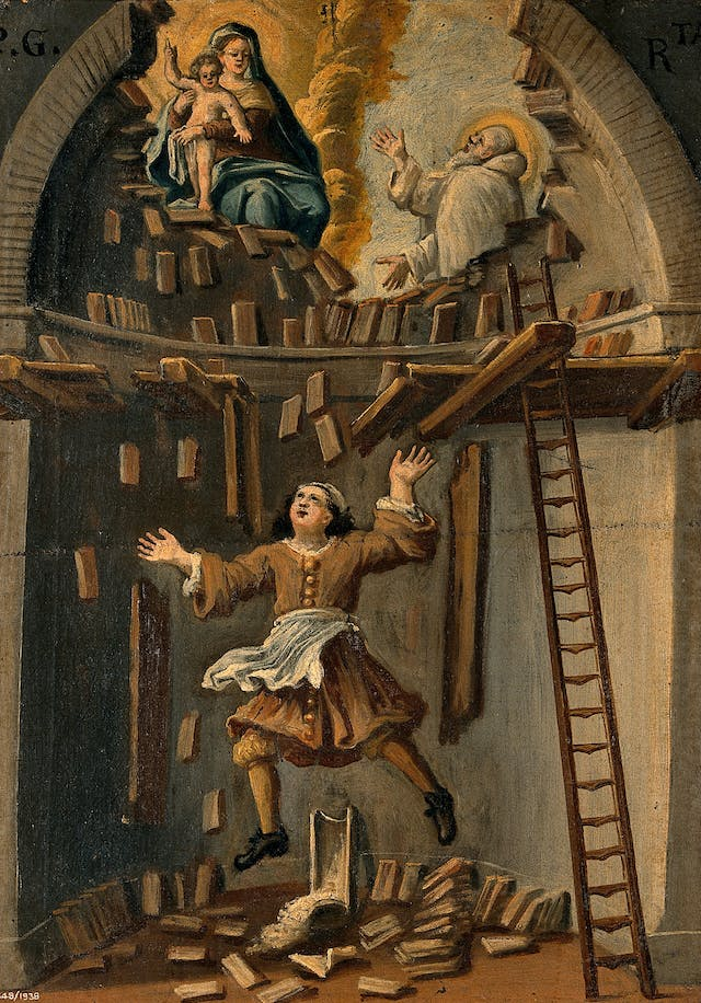 Painting of a builder falling from a platform in an apse. Above him, a saint (possibly St Bruno) begs the Virgin and Child to intervene and save the builder.