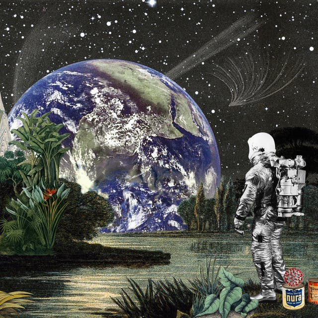 Artwork using collage. The collaged elements are made up of archive material which includes vintage and contemporary photographs, etchings, painted illustrations, lithographic prints and line drawings. This artwork depicts a scene with elements of outer space. In the background is a dark starry sky with a small red planet and a large blue and green planet Earth rising over horizon. In the middle distance on the left hand side are tall thin volcanic like mountain peaks and a space rocket in take off with jets of fire and smoke. In the centre is green foliage next to an expanse of lake-like water. In the foreground on the right hand side is a lone astronaut looking out across the water towards the rising Earth. At the feet of the astronauts are a couple of food cans, one with the words
