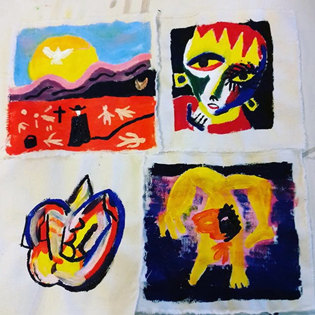 Four brightly coloured paintings on calico by Beth Hopkins.