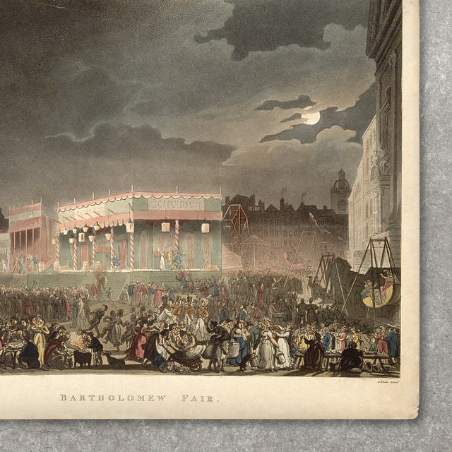 Photograph of a colour illustration against a concrete background. The illustration shows a large crowd of people gathered in an urban setting at night, with fair ground rides. The sky is dark and a full moon emerges from behind some clouds.