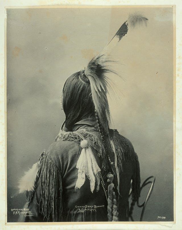 Dance bonnet and scalplock of an Omaha Indian