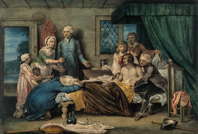 Watercolour image of a group of people grouped around the bed where a man sits naked from the waist up. In front of the bed are various tools used to attempt to resuscitate him and the rescuer