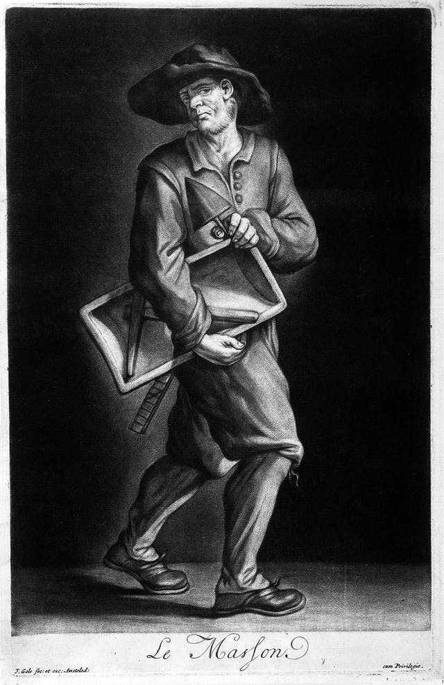 Black and white mezzotint of an architect carrying the tools of his trade, including some sort of ruler and a plumb bob. The man appears sad.