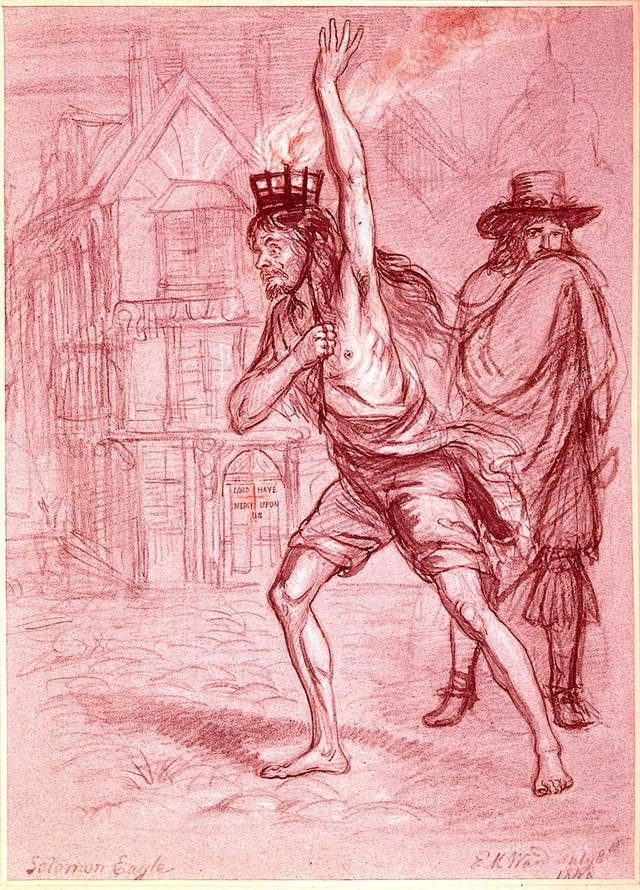 Sketch in red pencil of a semi naked man with a small metal fire burnace strapped to his head.