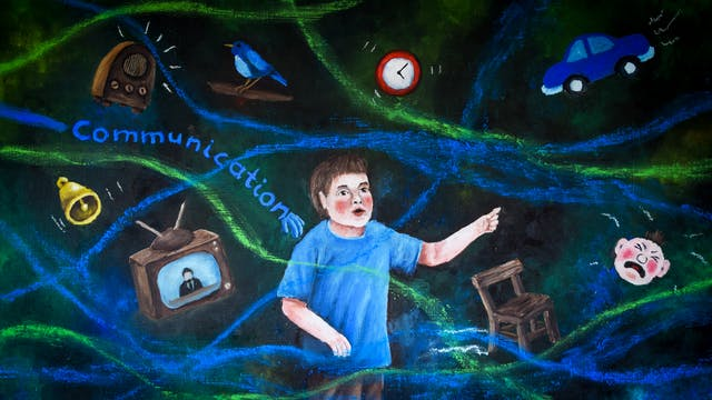 Oil painting showing the upper body of a young boy wearing a light blue t-shirt. All around him, against a black background, are floating objects such as a tv set, a bell, a clock, a bird, a car, a chair and a crying baby. Around the boy are swirling lines of blue and green. Behind him the word