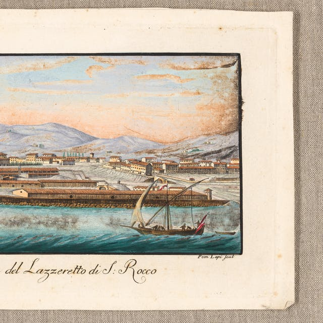 Photograph of a coloured etching from 1824 titled, Veduta del lazzeretto di S. Rocco. Pom Lapi scul. The etching shows a panoramic view of a harbour scene with small boats in the foreground.