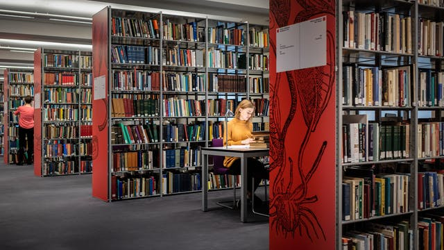 Photograph of a library with rows of free standing books shelves, filled with books. On the end of each row is a large red graphic plant like design and book category information signs. Between the first two rows a young woman is sitting at a table writing in a notebook, spotlit by a small desk lamp. In the distance another person can be seen standing at a bookshelf, back to camera.
