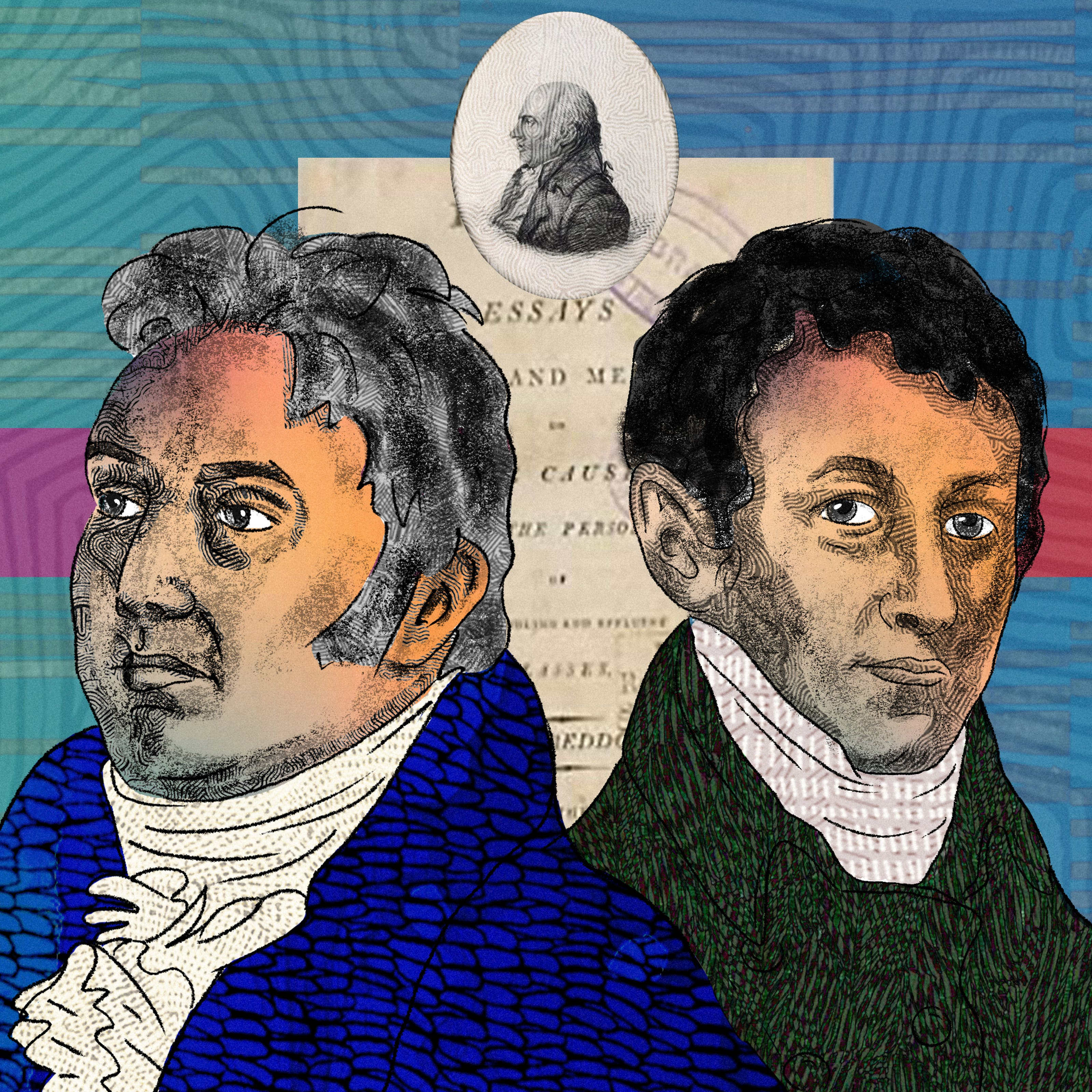 An abstract illustration featuring two head and shoulders portraits of two males posed back to back, depicting the writer philosopher Samuel Taylor Coleridge on the left and chemist Humphry Davy on the right. On the left side by Coleridge there is a romantic image of a red poppy flower as well as an opium pipe. To the right side by Davy there is an archive image of someone inhaling pain relief gas as part of a medical procedure.