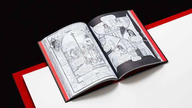 休息在白色表面上的开放精装书的照片。这本书的顶部是悬垂的白色表面。就在白色表面下方是另一个红色表面,在白色顶部造成边缘。这红色恭维了填充盖的内部的红色。这本书的两个公开页面显示黑白图形小说插图。书后面和表面是黑色背景。