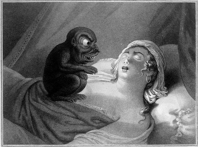 Engraving of a young woman asleep with a devil sitting on her chest, symbolising her nightmare