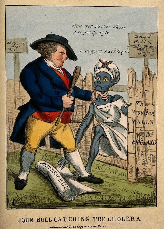John Bull defending Britain against the invasion of cholera