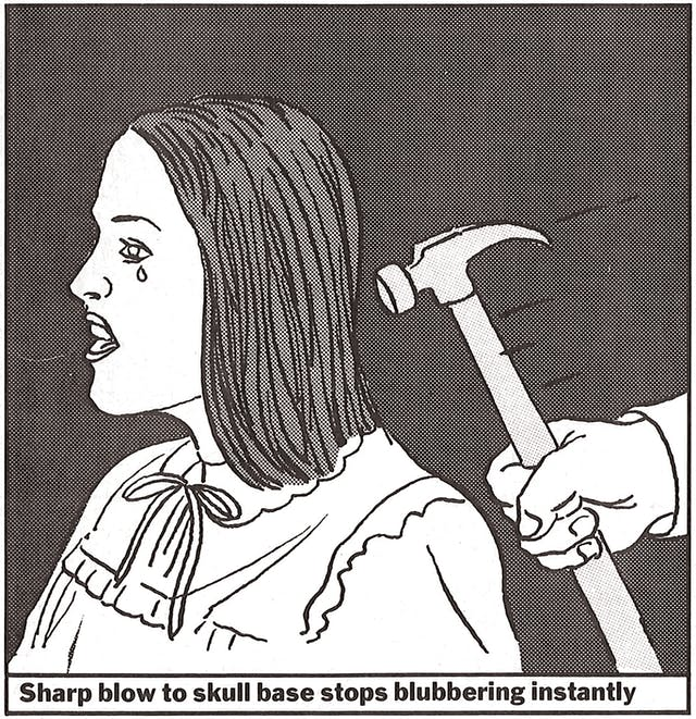 A cartoon of a hammer about to hit a woman