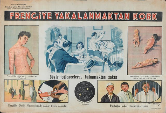 "Poster showing six vignettes in two rows, each with lettering below. Upper row, left to right: a young man with the pink rash (""Rozeol"") of syphilitic papilloma; young men and women partying with alcohol in a bedsit, typical conditions for transmission of syphilis; infants with hereditary syphilis. Lower row, people attending a dispensary for treatment of sexually transmitted diseases; the spirochete of syphilis seen through a microscope; three men, two of them with their faces eaten away by syphilis, the third behind bars in prison"