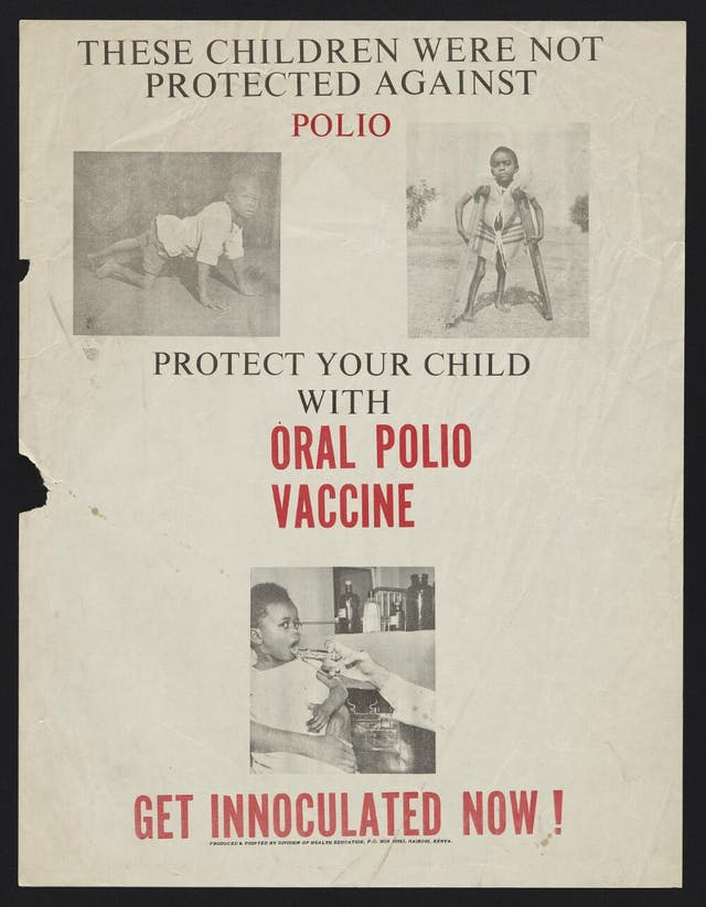 Poster showing two children with disabilities and another receiving a vaccine.  Next to the two children with disabilities is the text: