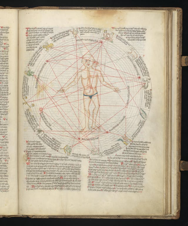 A page from a book, showing an illustration of a male human form, contained within a diagram of the zodiac, overlaid with interconnecting red lines.