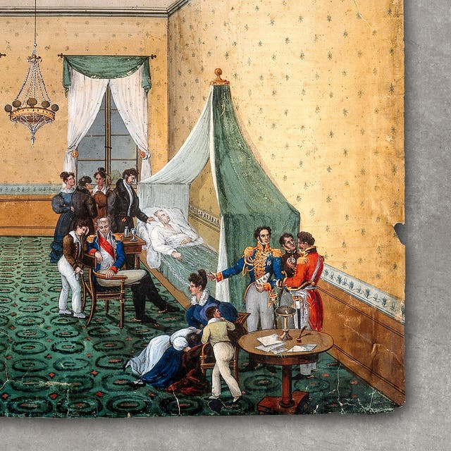 Photograph of a watercolour depicting the death of Napoleon Bonaparte. Napoleon is lying in bed surrounded by 12 people, some wearing military uniform. Three of these people are young children. One of the people stands at Napoleon