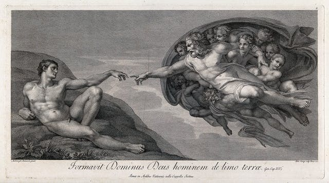 Black and white engraving of two reclining men - one Adam, naked, the other God, surrounded by angels. The two men are reaching towards each other, as though their forefingers might touch.