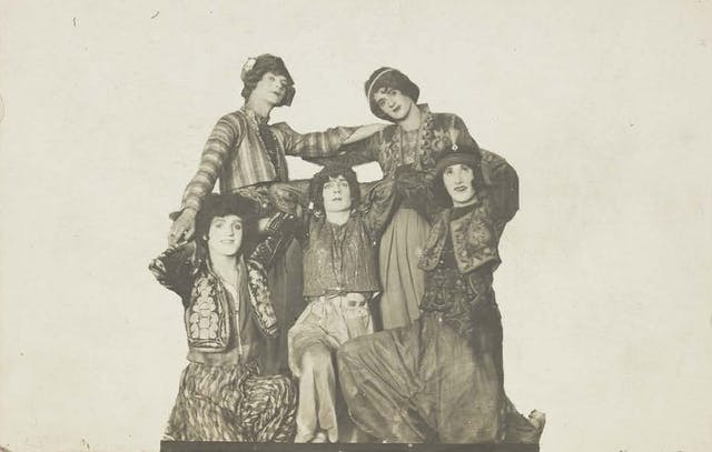 Russian soldiers in drag, photographic postcard, c.1910-19