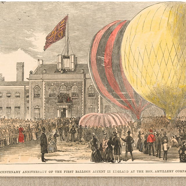 Coloured wood engraving showing three different scenes. The central scene shows a crowd of people gathered in a square, with hot-air balloons on the ground. The scene on the top right, has the following accompanying text: