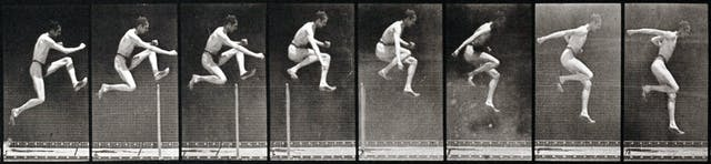 A series of black and white photographs showing a man wearing a loincloth jumping over a pole.