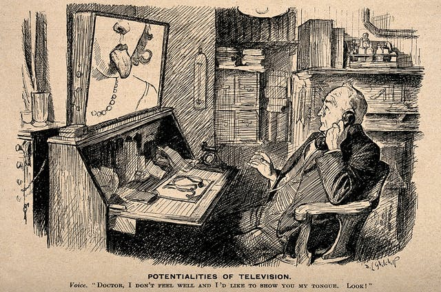 Line photoengraving of a doctor seated with a telephone to his ear looking up at a screen where a woman has poked out her tongue.