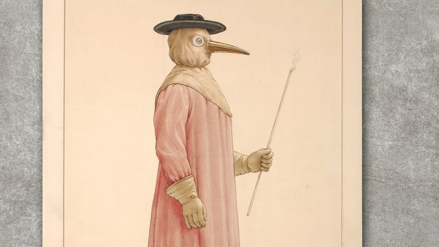 A physician wearing a seventeenth century plague preventive costume