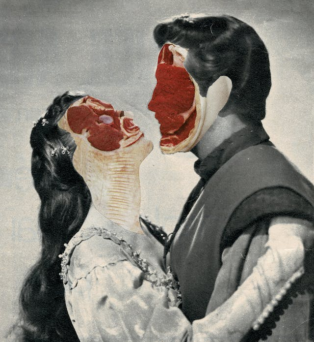 Paper collage artwork of a black and white pair of male and female lovers as they embrace.  Their facial features have been replaced with full colour set of cured meats, following the profile of their faces.